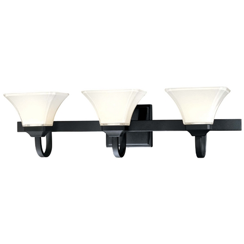 Minka Lavery Bathroom Light with White Glass in Black Finish 6813-66