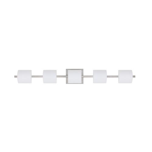 Besa Lighting Modern Bathroom Light White Glass Satin Nickel by Besa Lighting 5WS-787307-SN