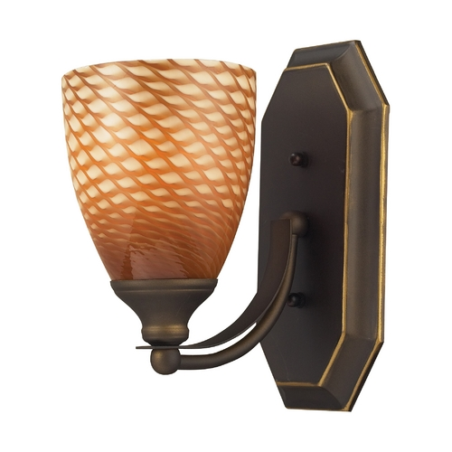 Elk Lighting Sconce with Art Glass in Aged Bronze Finish 570-1B-C