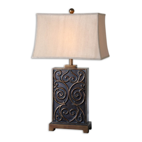 Uttermost Lighting Table Lamp with Beige / Cream Shade in Dark Bronze Finish 26797