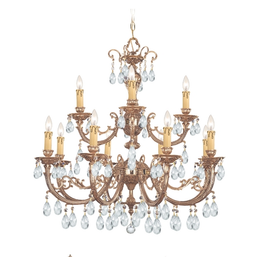 Crystorama Lighting Crystal Chandelier in Olde Brass Finish 499-OB-CL-SAQ