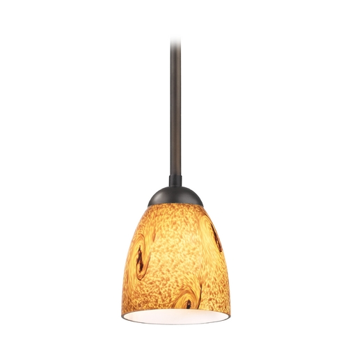 Design Classics Lighting Modern Mini-Pendant Light with Brown Art Glass 581-220 GL1001MB