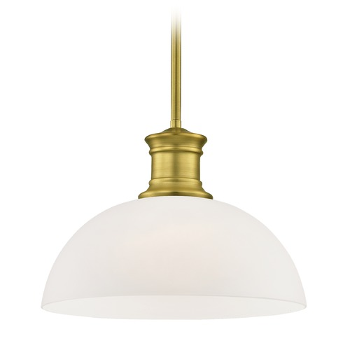 Design Classics Lighting Industrial Satin Brass Pendant Light with White Glass 13-Inch Wide 1761-12 G1785-WH