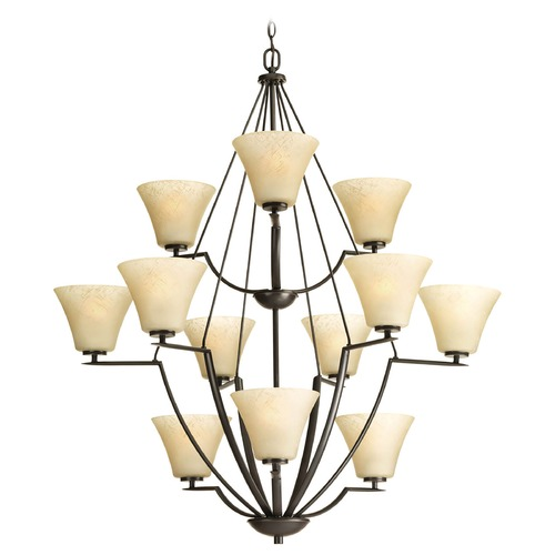Progress Lighting Modern Chandelier with Beige / Cream Glass in Antique Bronze Finish P4687-20