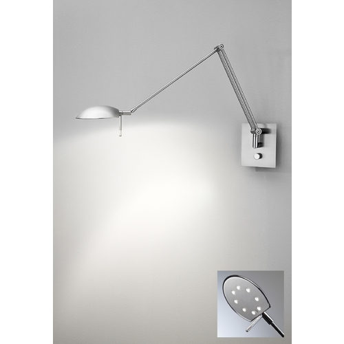 Holtkoetter Lighting Holtkoetter Modern LED Swing Arm Lamp in Satin Nickel Finish 8193LED SN