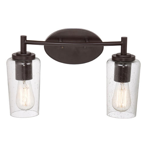 Quoizel Lighting Seeded Glass Bathroom Light Bronze Quoizel Lighting EDS8602WT