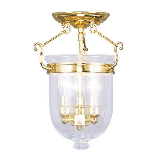 Livex Lighting Livex Lighting Jefferson Polished Brass Semi-Flushmount Light 5061-02
