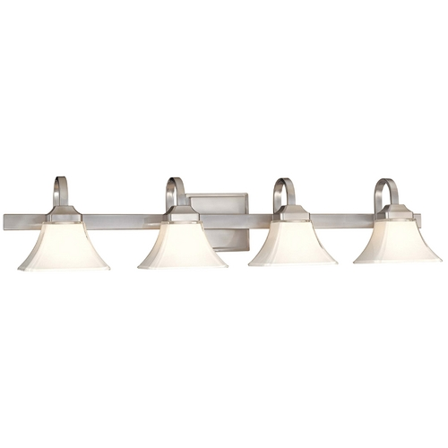 Minka Lavery Bathroom Light with White Glass in Brushed Nickel Finish 6814-84