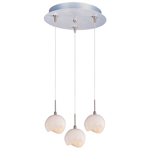 ET2 Lighting Modern Low Voltage Multi-Light Pendant Light with White Glass and 3-Lights E94606-10SN