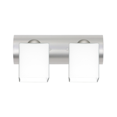 Besa Lighting Modern Bathroom Light with White Glass in Satin Nickel Finish 2WZ-449807-SN