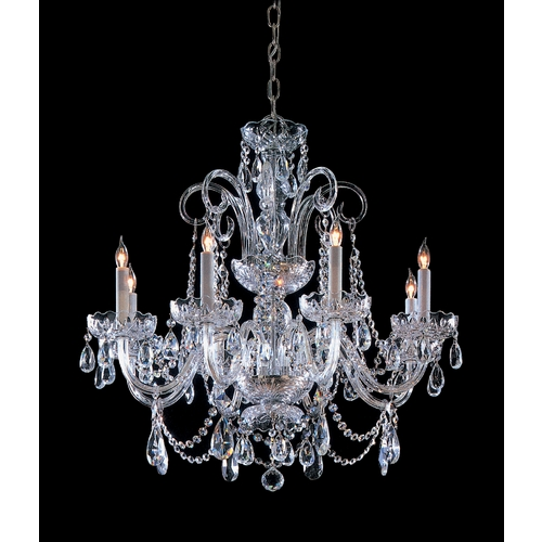 Crystorama Lighting Crystal Chandelier in Polished Chrome Finish 5008-CH-CL-SAQ