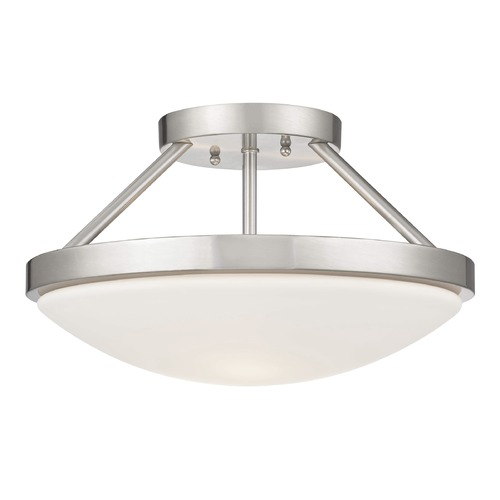 Design Classics Lighting Satin Nickel Semi-Flushmount Ceiling Light with Satin White Glass 567-09