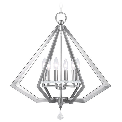Livex Lighting Livex Diamond Brushed Nickel Pendant Light 50666-91