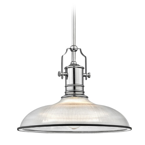 Design Classics Lighting Industrial Pendant Light Prismatic Glass Chrome / Black 14.38-Inch Wide 1765-26 G1781-FC R1781-07
