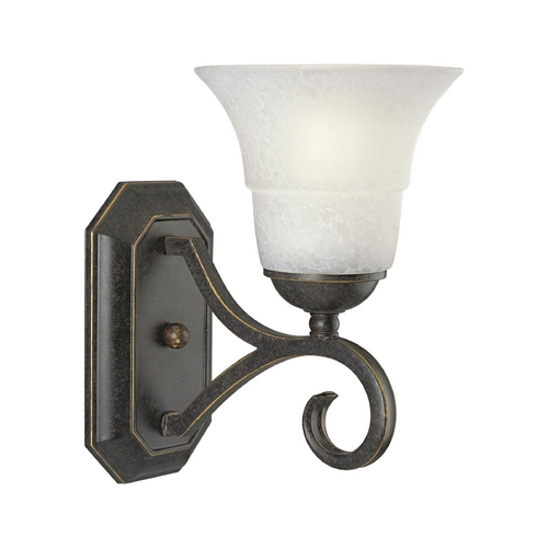 Progress Lighting Progress Sconce Wall Light with White Glass in Espresso Finish P2918-84
