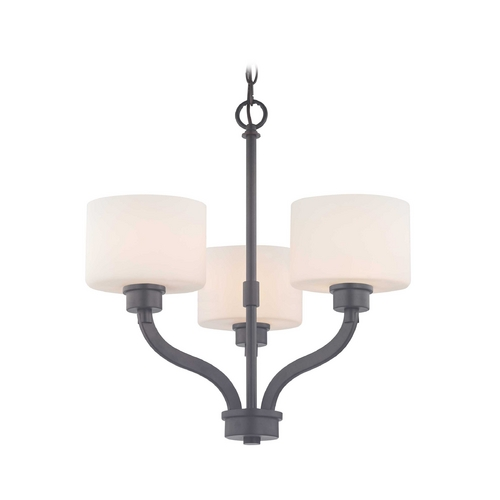 Dolan Designs Lighting Bronze Mini-Chandelier Light with White Glass Drum Shades 1267-46