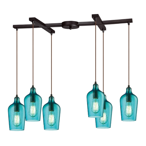 Elk Lighting Multi-Light Pendant Light with Green Glass and 6-Lights 10331/6HAQ