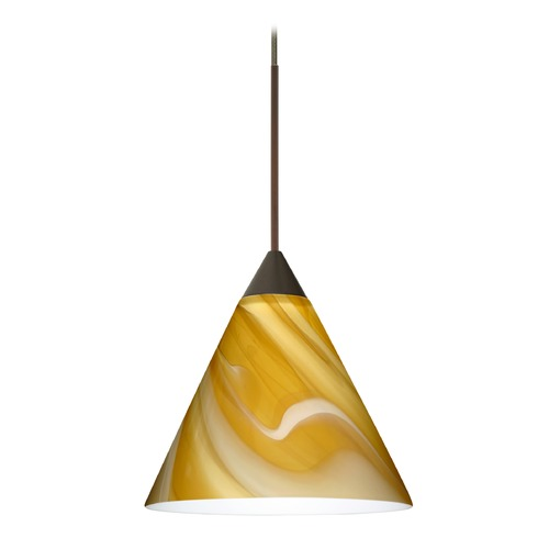 Besa Lighting Besa Lighting Kani Bronze LED Mini-Pendant Light with Conical Shade 1XT-5121HN-LED-BR