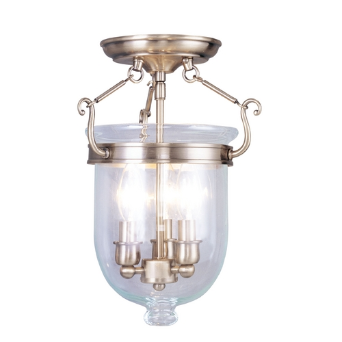Livex Lighting Livex Lighting Jefferson Antique Brass Semi-Flushmount Light 5061-01