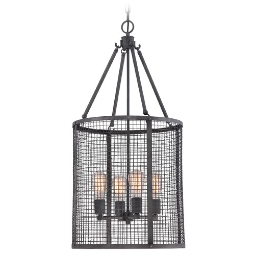 Quoizel Lighting Quoizel Wilder Mottled Black Pendant Light with Cylindrical Shade WLR5204MB