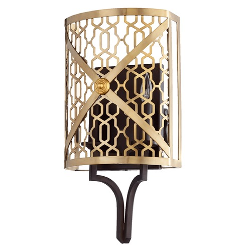 Quorum Lighting Quorum Lighting Renzo Aged Brass W/ Oiled Bronze Sconce 540-80