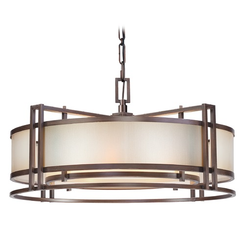 Metropolitan Lighting Underscore Cimmaron Bronze Pendant Light with Drum Shade N6965-1-267B