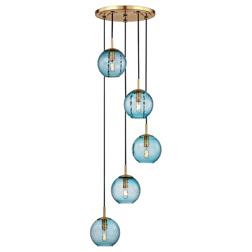 Hudson Valley Lighting Mid-Century Modern Multi-Light Pendant Brass Rousseau by Hudson Valley Lighting 2035-AGB-BL