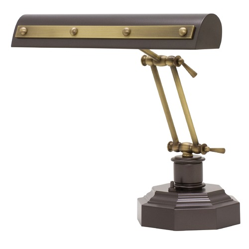 House of Troy Lighting House of Troy Piano/Desk Mahogany Bronze with Antique Brass Accents Piano / Banker Lamp PR14-203-MB/AB