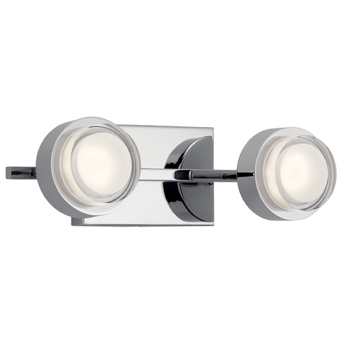 Elan Lighting Harlaw 2-Light Chrome LED Bathroom Light with Etched Acrylic 85076CH