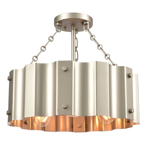 Elk Lighting Elk Lighting Clausten Matte Nickel Semi-Flushmount Light 89056/3