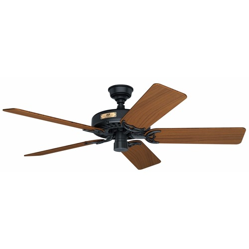 Hunter Fan Company Black Outdoor Ceiling Fan with Teak Wood Blades 23863