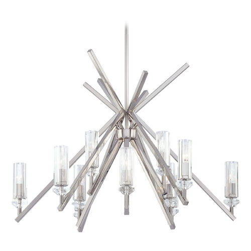 Metropolitan Lighting Crystal Chandelier with Clear Glass in Polished Nickel Finish N6831-613