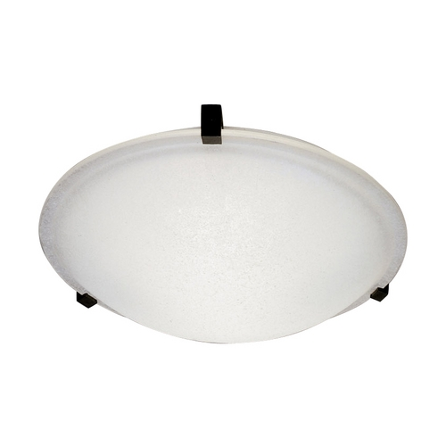 PLC Lighting Modern Flushmount Light with White Glass in Natural Iron Finish 3475 IR