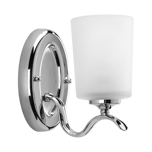 Progress Lighting Sconce Wall Light with White Glass in Polished Chrome Finish P2018-15
