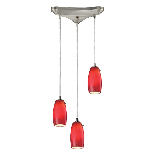 Elk Lighting Modern Multi-Light Pendant Light with Red Glass and 3-Lights 10223/3CHE