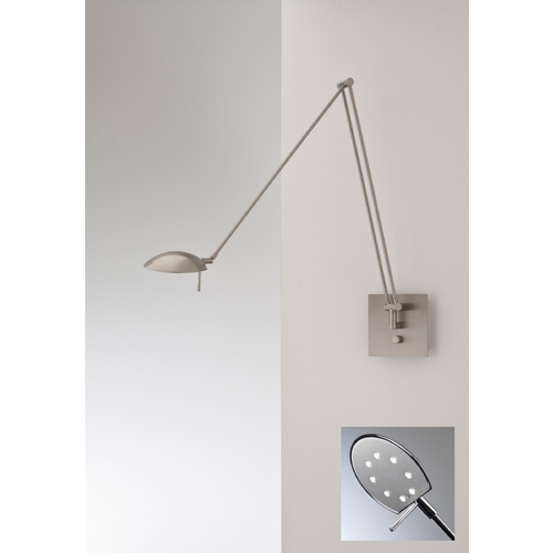 Holtkoetter Lighting Holtkoetter Modern LED Swing Arm Lamp in Satin Nickel Finish 8195LED SN