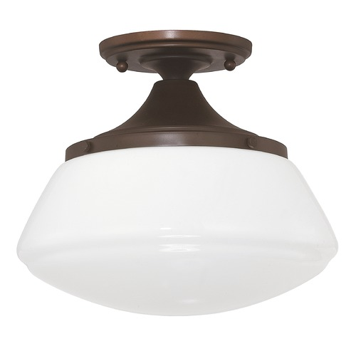 Capital Lighting Capital Lighting Bronze Schoolhouse Semi-Flushmount Light 3537BB-129