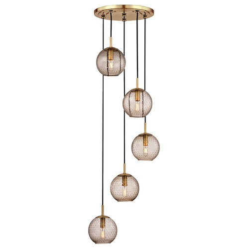 Hudson Valley Lighting Hudson Valley Lighting Rousseau Aged Brass Multi-Light Pendant with Globe Shade 2035-AGB-BZ