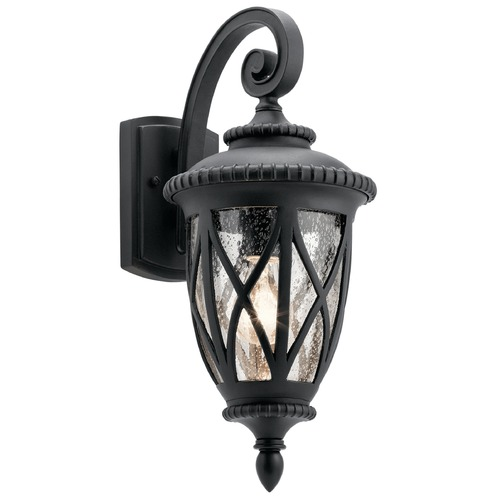 Kichler Lighting Seeded Glass Outdoor Wall Light Black Kichler Lighting 49847BKT