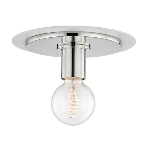 Hudson Valley Lighting Mid-Century Modern Flushmount Light Polished Nickel / White Mitzi Milo by Hudson Valley H137501S-PN/WH