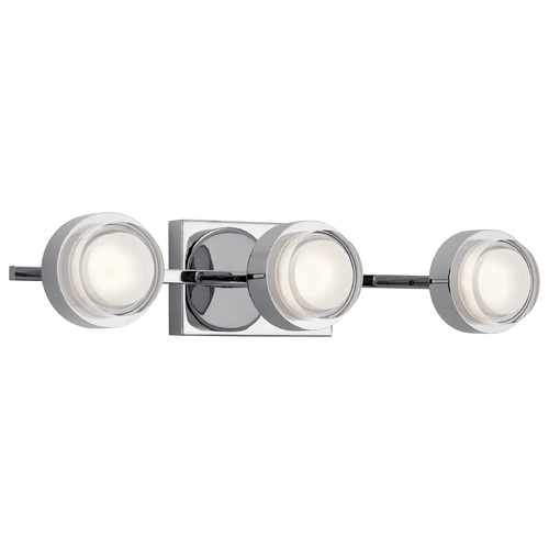Elan Lighting Harlaw 3-Light Chrome LED Bathroom Light with Etched Acrylic 85077CH
