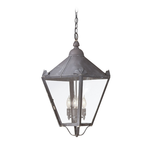 Troy Lighting Outdoor Hanging Light with Clear Glass in Charred Iron Finish FCD8948CI