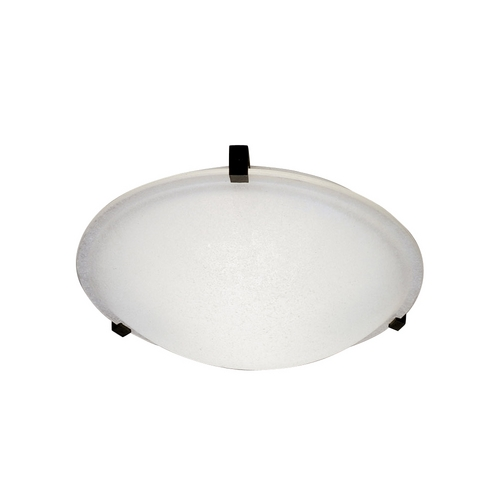 PLC Lighting Modern Flushmount Light with White Glass in Black Finish 3475 BK