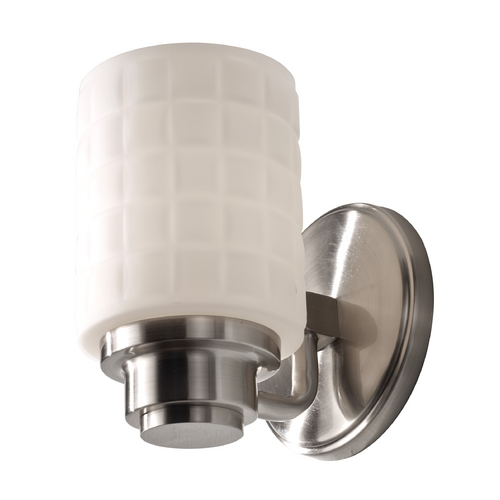 Feiss Lighting Modern Sconce with White Glass in Brushed Steel Finish VS32001-BS