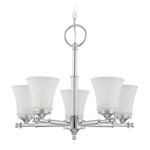 Nuvo Lighting Modern Chandelier with White Glass in Polished Chrome Finish 60/4265