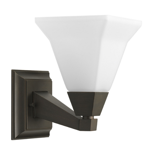 Progress Lighting Progress Sconce Wall Light with White Glass in Venetian Bronze Finish P3135-74