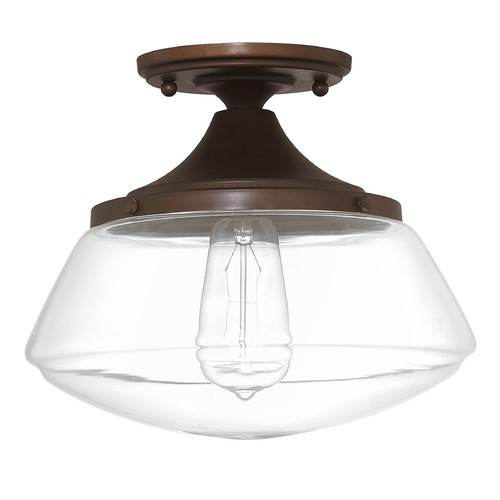 Capital Lighting Capital Lighting Clear Glass Schoolhouse Semi-Flushmount Light 3537BB-134