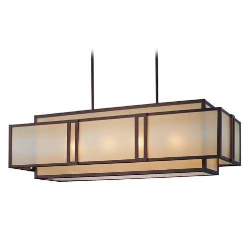 Metropolitan Lighting Underscore Cimmaron Bronze Island Light with Rectangle Shade N6959-1-267B