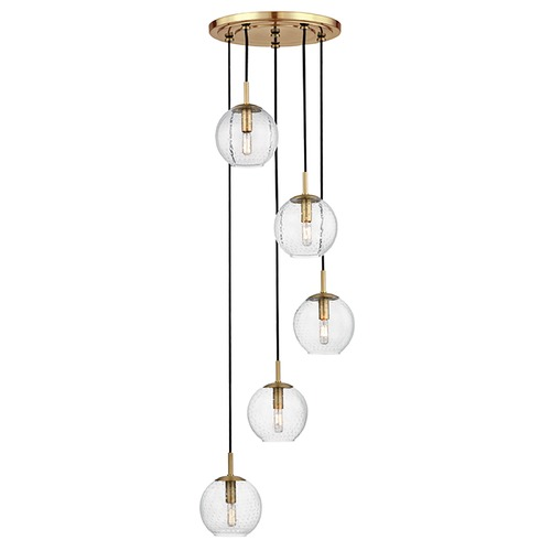 Hudson Valley Lighting Mid-Century Modern Multi-Light Pendant Brass Rousseau by Hudson Valley Lighting 2035-AGB-CL