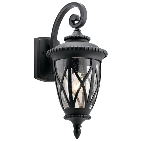 Kichler Lighting Seeded Glass Outdoor Wall Light Black Kichler Lighting 49848BKT